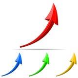 3d pijlen verschillende kleuren. Stock Fotografie