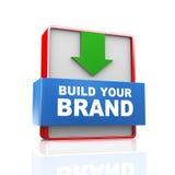 3d pijltekst bouwt uw merk Stock Foto's