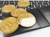 3d Pile of bitcoin gold coins on a computer keyboard. 3d illustration. Pile of bitcoin gold coins on a computer keyboard. Bitcoin trading concept Stock Photography
