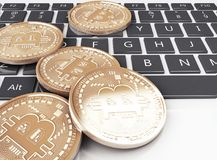 3d Pile of bitcoin gold coins on a computer keyboard. 3d illustration. Pile of bitcoin gold coins on a computer keyboard. Bitcoin trading concept Stock Images