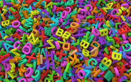 3d pile of colorful alphabets Stock Image