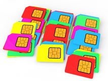 3D pile of colorful SIM cards. 3D render of a pile of colorful SIM cards royalty free illustration