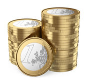 3D Pile of euro coins. 3d white people. Pile of euro coins. White background Royalty Free Stock Photos