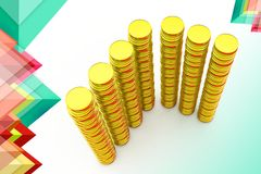 3d pile of gold illustration Stock Images