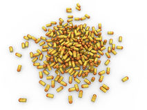3d pile of golden bullets. 3d render of a pile of golden bullets Stock Photography