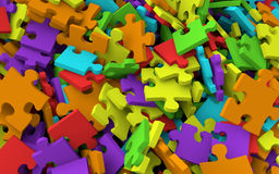 3D pile of jigsaw puzzle pieces Stock Photography