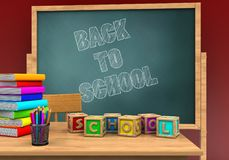 3d pile of literature. 3d illustration of board with back to school text and letters cubes Royalty Free Stock Photos