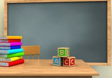 3d pile of literature. 3d illustration of chalkboard with abc cubest and pile of literature Stock Photo
