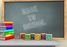 3d pile of literature. 3d illustration of chalkboard with back to school text and letters cubes Stock Image