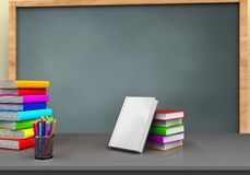 3d pile of literature. 3d illustration of chalkboard with books stackt and pile of literature Royalty Free Stock Image