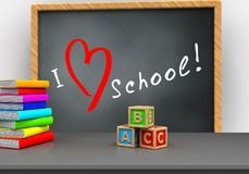 3d pile of literature. 3d illustration of grey chalkboard with love school text and abc cubes Stock Photos