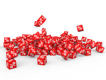 3d pile of percent symbol red cubes Stock Photos