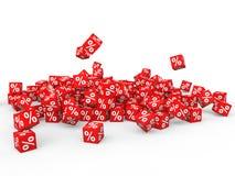 3d pile of percent symbol red cubes Stock Photos