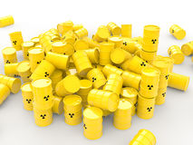 3d pile of radioactive waste barrels Royalty Free Stock Photo