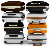 3d pile of suitcases Stock Images