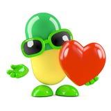 3d Pill has a heart Stock Photos