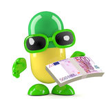 3d Pill holding Euro currency notes Royalty Free Stock Photos
