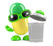 3d Pill takes out the trash Royalty Free Stock Photo