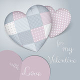 3D pillows in shape of a heart with patchwork. Sensual blue and rose shades. Valentine's day. Royalty Free Stock Photos