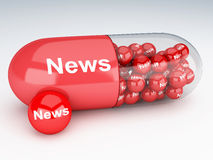 3d pills with news. 3d renderer image. Pills with news. Social media and networking concept Stock Photos