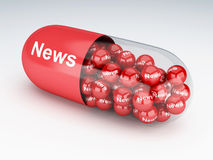 3d pills with news. 3d renderer image. Pills with news. Social media and networking concept Royalty Free Stock Photo