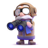 3d Pilot with binoculars Stock Photos