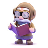 3d Pilot bookworm Stock Photo