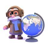 3d Pilot with a globe of the Earth Royalty Free Stock Image