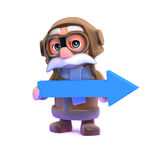 3d Pilot holding a blue arrow. 3d render of a pilot holding a blue arrow Royalty Free Stock Photography