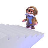 3d Pilot looks up the staircase Royalty Free Stock Photo