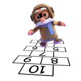 3d Pilot playing hopscotch Royalty Free Stock Image