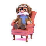 3d Pilot relaxes in an armchair Royalty Free Stock Photo