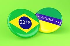 3d Pin Elections 2018 Brasilien röstning stock illustrationer
