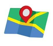3D Pin Icon Set com mapa Fotografia de Stock Royalty Free