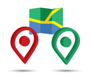 3D Pin Icon Set com mapa Fotos de Stock