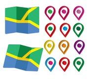 3D Pin Icon Set com mapas Imagem de Stock