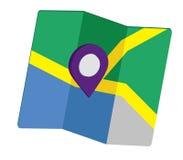 3D Pin Icon Set con la mappa Fotografia Stock Libera da Diritti