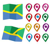 3D Pin Icon Set con los mapas Imagen de archivo