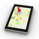 3d pin stuck on gps map tablet Stock Photos