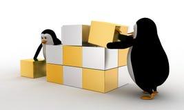 3d pinguïn die grote kubus van klein zilveren en gouden kubussenconcept maken Royalty-vrije Stock Foto's