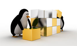 3d pinguïn die grote kubus van klein zilveren en gouden kubussenconcept maken Stock Afbeeldingen