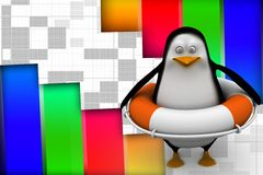 3d pinguïn die veilige boot dragen Royalty-vrije Stock Afbeelding