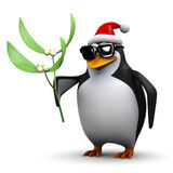 3d Pinguïn die wat maretak houden Stock Afbeelding