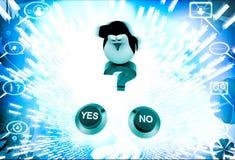 3d pinguïn die zich op rood vraagteken en verward om te kiezen tussen ja of geen knoopillustratie bevinden Royalty-vrije Stock Foto's