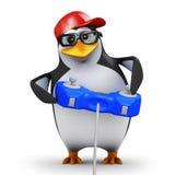 3d Pinguïn gamer stock illustratie
