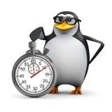 3d Pinguïn met een chronometer Stock Foto's
