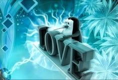 3d pinguïn met het concept van de liefdetekst Stock Fotografie