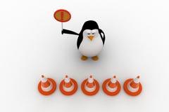 3d pinguïneinde van het ingaan van en het houden van het concept van het eindeteken Stock Afbeelding