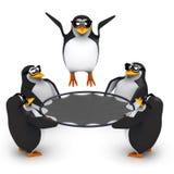 3d Pinguïnen die met een trampoline spelen Stock Afbeeldingen