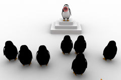 3d pinguïnleider die toespraak geven aan groep pinguïnenconcept Stock Fotografie